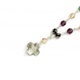 Denario cristal multicolor cruz del equilibrio gris