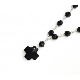Denario de Plata cristal negro con cruz del equilibrio