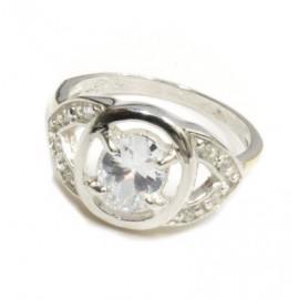 Anillo de plata piedra cristal central obal
