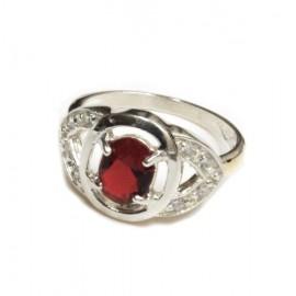 Anillo de plata piedra central roja