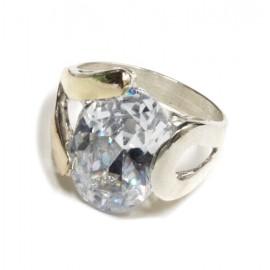 Anillo de Plata con duble piedra obal cristal