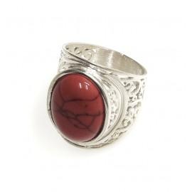 Anillo de plata piedra oval rojo