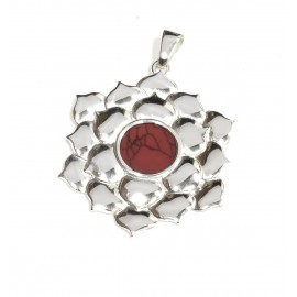 Dije de plata flor centro rojo 40mm