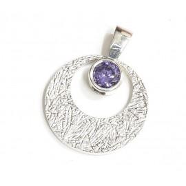 Dije de plata circulo con susano violeta 25mm