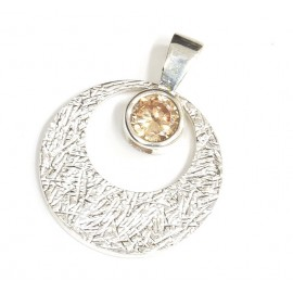 Dije de plata circulo con susano ambar 25mm