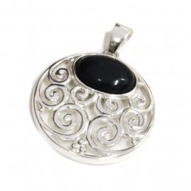 Dije de plata circulo calado piedra negra oval 40mm