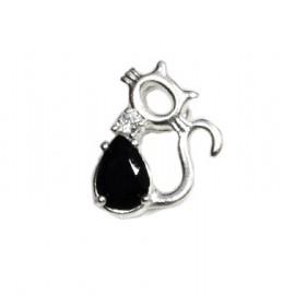 Dije de plata gato calado cubic negro