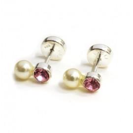 Aros de plata abridores susano rosa con perla 5mm