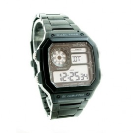 Reloj tressa retro negro dual time metal 42mm