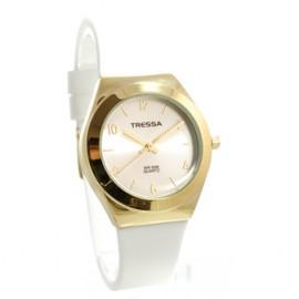 Reloj tressa sumergible blanco y dorado 34mm