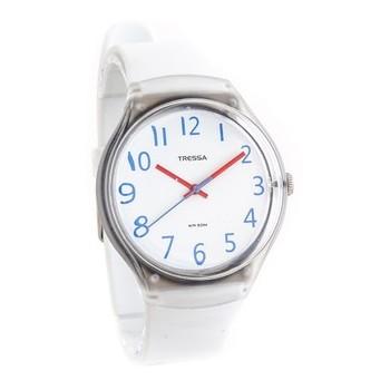 Reloj tressa sumergible blanco con azul 40mm