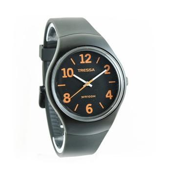 Reloj tressa sumergible negro con naranja 40mm