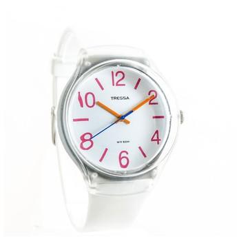 Reloj tressa sumergible blanco con rojo 40mm