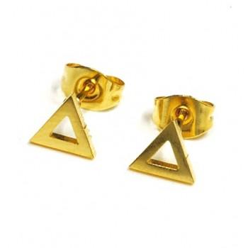 Aros de acero dorado triángulo calado 10mm