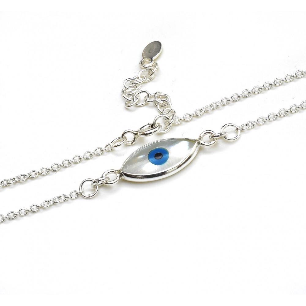 0a2766ec0501 Collar de plata ojo turco fondo nacar 9mm 40cm