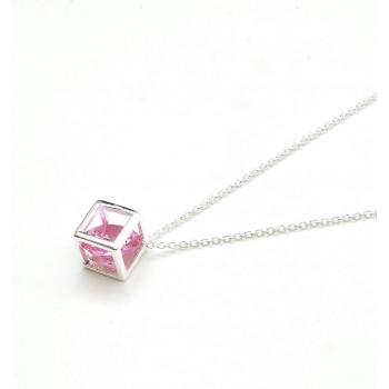 Collar de plata cubic rosa en cubo 45cm