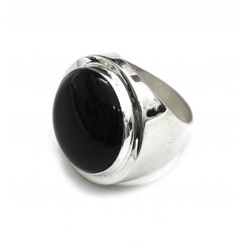Anillo de plata con piedra negra 25mm