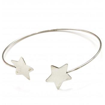 Pulsera de plata esclava doble estrella