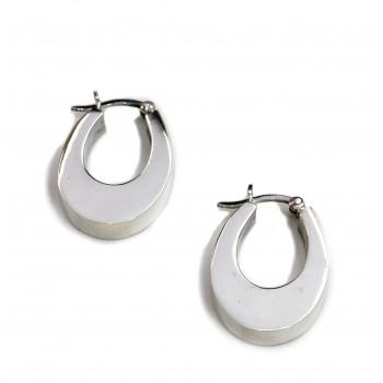 Aros de plata argollas inflada ovalada 25mm