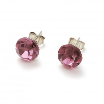 Aro de plata cristal rosa 8mm