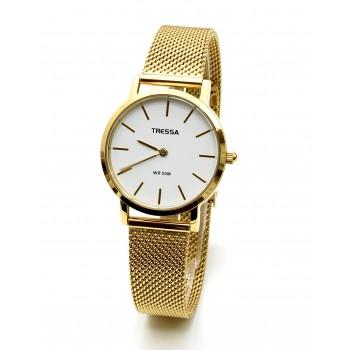 Reloj tressa acero tejido dorado centro blanco 32mm