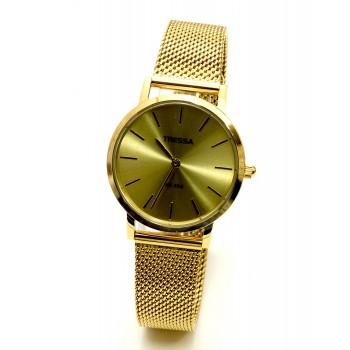 Reloj tressa acero tejido dorado 32mm