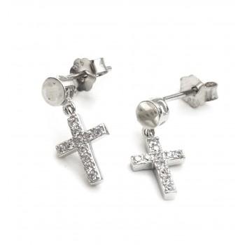 Aros de plata cruz colgante 10mm