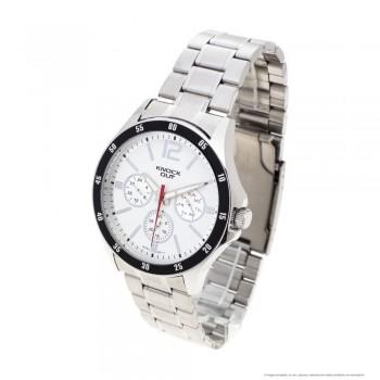 Reloj malla metalica centro blanco borde negro 44mm