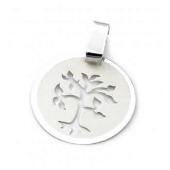 Dije de plata círculo árbol calado 15mm