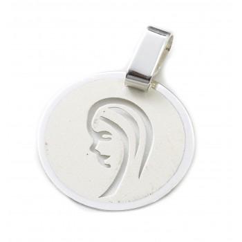 Dije de plata círculo virgen niña calado 15mm