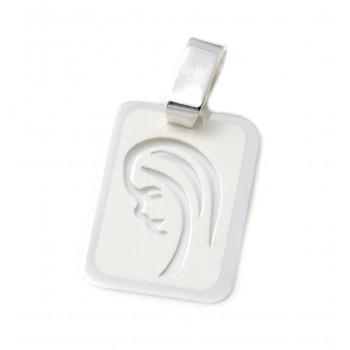 Dije de plata rectangular virgen niña calado 15mm