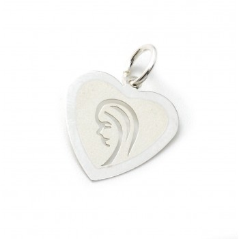 Dije de plata corazón con virgen niña 15mm