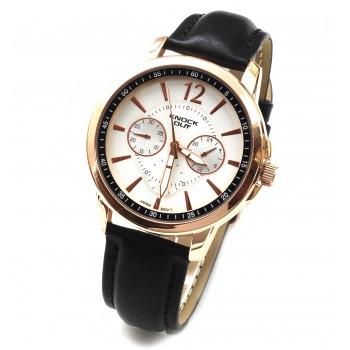 Reloj cuerina negra centro blanco y rosse 40mm