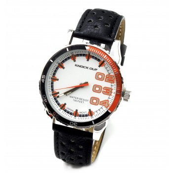 Reloj cuerina negra centro blanco y naranja 40mm