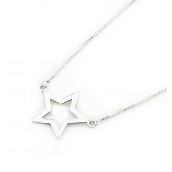 Collar de plata dije estrella calada 45cm