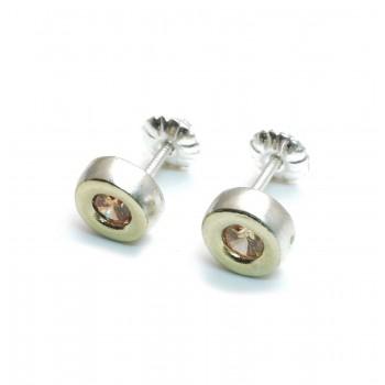 Aros de plata con duble centro cubic ambar 7mm