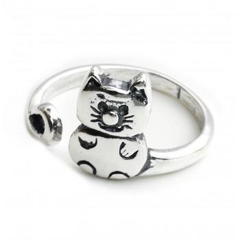 Anillo de plata gato empavonado