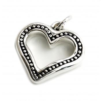 Dije de plata corazon inflado calado borde punteado 30mm