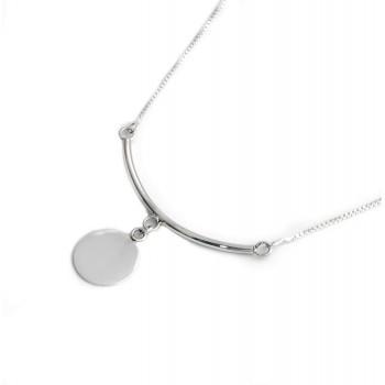 Collar de plata barra y circulo liso 45cm
