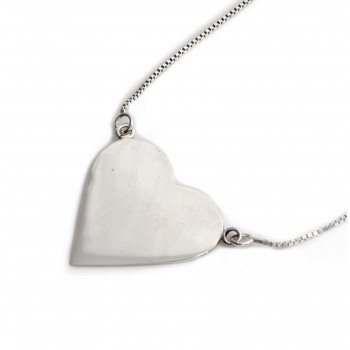 Collar de plata dije corazon liso 20mm 40cm