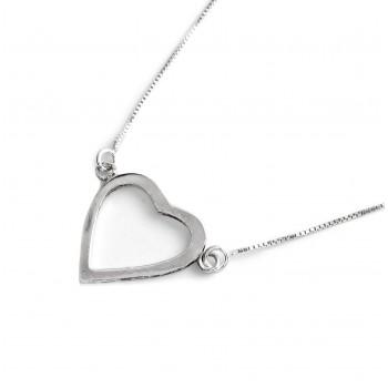Collar de plata dije corazon calado 18mm 40cm