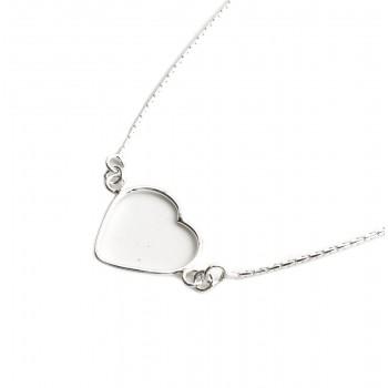 Collar de plata dije corazon 15mm 40cm