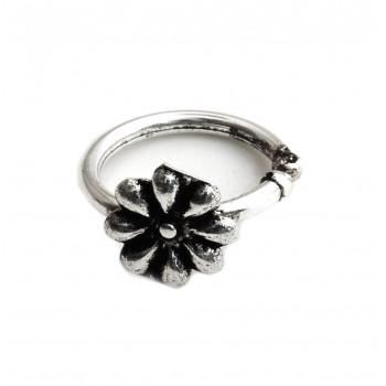 Aros de plata bidu empavonado con flor 6mm