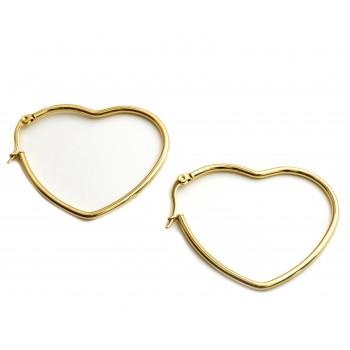 Aros de acero dorado argolla corazón 40mm