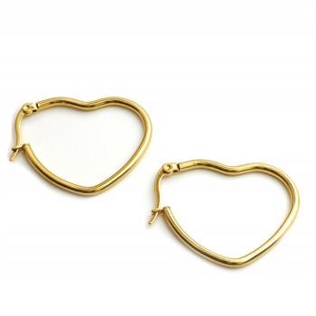Aros de acero dorado argolla corazón 30mm