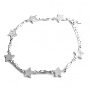 Pulsera de plata estrellas y barra 18cm