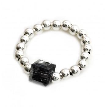 Anillo de plata bolitas dije cristal cubo negro