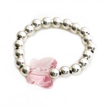 Anillo de plata bolitas dije cristal mariposa rosa