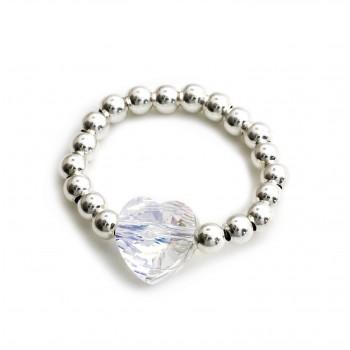Anillo de plata bolitas dije cristal corazon boreal