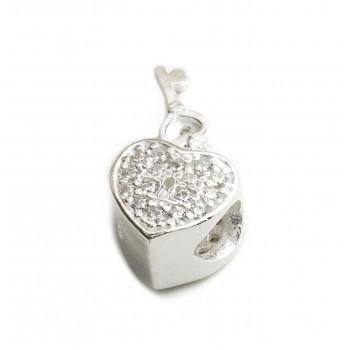 Dije de plata pasante corazon llave con micropave 8mm